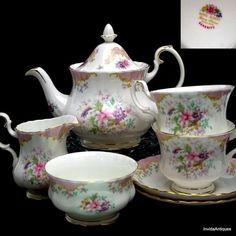 porcelain creamer and sugar sets   ... Serenity China Tea Set Teapot Creamer Sugar Cups Saucer #RoyalAlbert