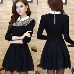 Lolita Dress 2015 Women Winter Warm Long Sleeve Mesh Patchwork Dresses Korean Kawaii Party Plus Size Vestidos Roupas Femininas