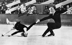 1960: Russian figure skaters Oleg Protopopov and Ludmilla Belousova practice before the start of the Winter Olympic Games in Squaw Valley, C.A