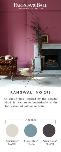 This colour is exotic, happy and vital. The most adventurous of our pinks, Rangwali is incredibly friendly and takes its name from the powder which is thrown so enthusiastically during the Holi festival of colours in India. Kitchen Colour Schemes, Bedroom Color Schemes, Bedroom Colors, Bedroom Decor, Dining Room Paint, Dining Room Design, Farrow Ball, Farrow And Ball Kitchen, Holi Festival Of Colours