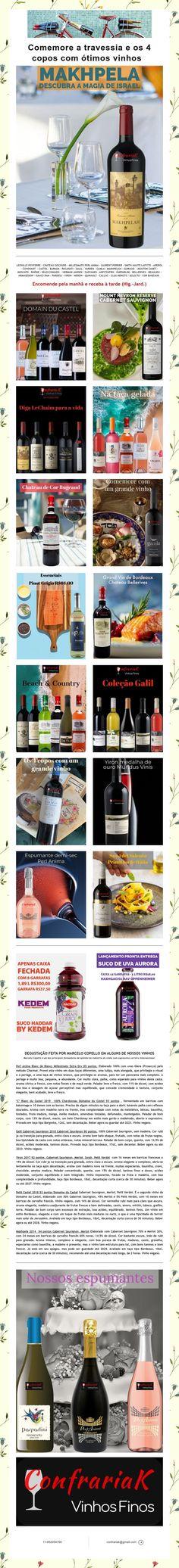 Comemore a travessia e os 4 copos com ótimos vinhos Mouton Cadet, Laurent Perrier, Cups