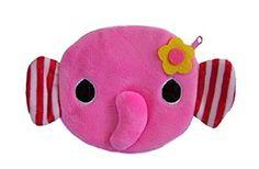 Plüschiger Kindergeldbeutel / Kinderportemonnaie (Münzbörse) mit süßem Elefantenmotiv (Elefanten-Baby als 3D Animal Print) inkl. flauschigen Ohren, Nase und Blümchen (mit Reißverschluss) (Rosa)