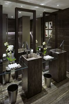 Contemporary Master Bathroom with Master bathroom, Silver Travertine Honed/Filled, Shower, travertine floors, Standard height
