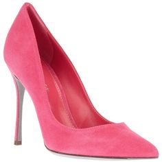 SERGIO ROSSI Pointed toe pump (€295) ❤ liked on Polyvore featuring shoes, pumps, heels, pink, sapatos, pink suede shoes, pink suede pumps, stiletto pumps, pointy toe stiletto pumps and pink pointy toe pumps