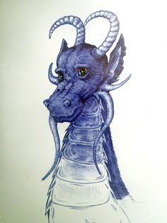 another blue ball point drawing with a bit of colour for the eyes.hes a bit derpy but hes the best dragon i have ever drawn in my life. ballpoint dragon of classroom boredom Biro Art, Amazing Art, Dragon, Classroom, Deviantart, Education, Drawings, Inspiration, Color