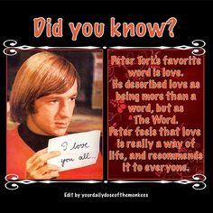 The Monkees Memes David Jones Mike Nesmith Peter Tork Micky Dolenz 1960's Clean Humor Funny Memes The Monkees Trivia The Monkees Facts The Monkees Peter Tork Favorite Word Love Hippie