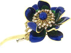 Blue and Green Enamel Flower Brooch With Diamonds in 18K - Beladora Antique and Estate Jewelry