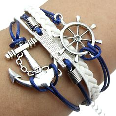 Free shipping 2014 New trendy Nautical, anchor, rudder bracelet leather bracelet fashion jewelry-in Charm Bracelets from Jewelry on Aliexpre...