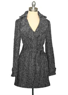 Ruffled Tweed Trench Coat - Black/White