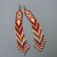 Extra long seed bead earrings  ethnic fringe by Anabel27shop