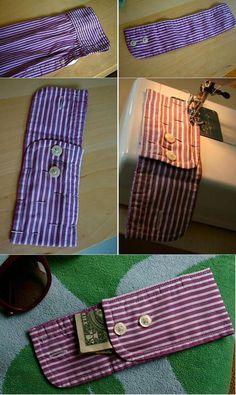 reciclar una camisa en una billetera recycler une chemise dans un portefeuille Fabric Crafts, Sewing Crafts, Sewing Projects, Upcycled Crafts, Upcycle Home, Memory Pillows, Techniques Couture, Diy Couture, Old Shirts