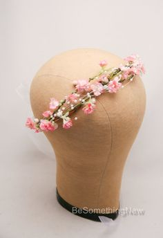 Wedding Flower Crown of Pink Flowers and Pearl by BeSomethingNew