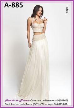 Exclusivo y Original Vestido de Novia Bohemio y Vintage con TOP y FALDA realizado a mano hasta el último detalle.