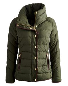 Joules Women's Padded Jacket, Everglade.                     Beat the chill in this warm padded jacket that's the perfect companion for blustery days. A concealed hood is hidden inside a neck hugging collar that's just right for keeping out any sudden draughts. A suede-feel trim and dropped hem only add to this jacket's appeal.