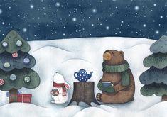 Просмотреть иллюстрацию Новогодняя ночь (иллюстрация для открытки) из сообщества русскоязычных художников автора Мария в стилях: Детский, Книжная графика, Персонажи, нарисованная техниками: Акварель.