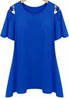 Blue Off the Shoulder Lacy Loose T-Shirt US$17.71
