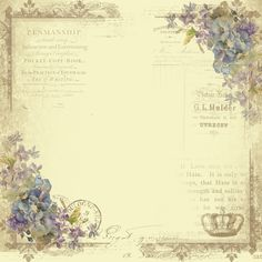 Astrid's Artistic Efforts: Tag Tutorial and June Freebies - French with crown and blue flowers. Printable Scrapbook Paper, Papel Scrapbook, Printable Paper, Scrapbooking, Vintage Labels, Vintage Ephemera, Vintage Paper, Patterns Background, Paper Background