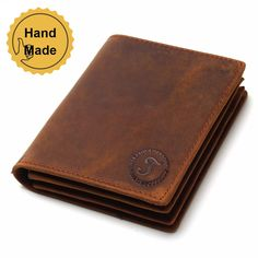 Mens Vintage Western Cowboy Wallet Genuine Leather Durable Multifunction Credit card Coin Pocket Purse