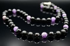 Men's Amethyst Necklace Crystal Necklace Gemstone Beaded Necklace Gift for Men Hand Knotted Necklace Onyx Necklace Black Agate Necklace