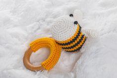 Natural Hardwood Crochet Teething Ring, Stunning Wood Teething Ring, Eco Baby Teethers, Montessori Toy, Bee Teething Ring, Wooden Rattle toy by SweetyKnityShop on Etsy