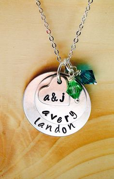 Aluminum Hand Stamped Layered Disc Name by UniquelyImprint on Etsy $20