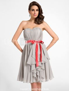 A-ligne sweetheart genou longueur chiffon robe de cocktail (574880) - EUR € 89.99