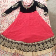 Very pretty Indian clothes peaches color and black It has net materiel chori dar pant stretch and scarf beautiful neck and sleeve work and black velvet on top Dresses Long Sleeve