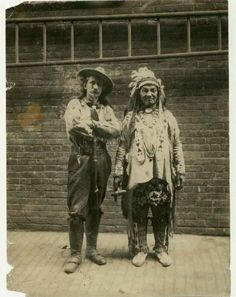 "Wild West shows with cowboys and Indians, turn of the century. This image is called ""The Indian and the Scout."" Both of these fellows were part of the Wild West show. Buffalo Bills, Native American History, Native American Indians, Native Americans, Old West Photos, Into The West, Cowboys And Indians, Le Far West, Mountain Man"