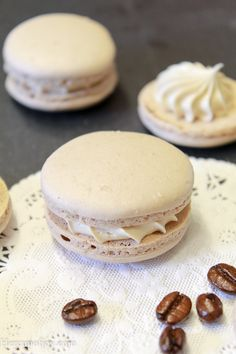 Coffee Macarons (Italian Method) – Her Cup of Joy Coffee Macarons (Italian Method) A delicious macaron with a slight touch of cocoa sandwiched together with a creamy coffee buttercream. Just Desserts, Delicious Desserts, Dessert Recipes, Yummy Food, Health Desserts, Tea Cakes, Coffee Buttercream, French Macaroons, Italian Macarons
