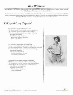 For artistic writers and lovers of poetry, here's a literary analysis page featuring a famous poem by Walt Whitman.