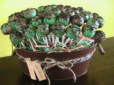 Just Right Cake Pops: Camo Baby Shower WWW.INFANTEENIEBEENIE.COM~  only hats guaranteed to fit and stay snug to all newborns!  WE HAVE BROWNING BEENIES FOR BOYS/GIRLS!!