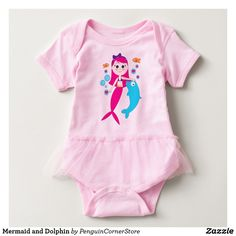 Mermaid and Dolphin Baby Bodysuit