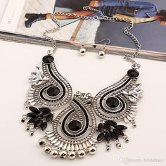 Europe And the United States Fashion Exaggerated Exaggerated Gem Flower Fringed Banquet Necklace Accessories Necklace Accessories Online with 17.15/Piece on Bridallace's Store | DHgate.com