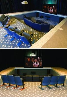When you have a big house with many rooms, some of the rooms are not used. So they don't remain empty you could do something useful, like the owners of this Wisconsin home did with their unused indoor pool. They decided that it could become a veritable home theater, and they did a really great job of creating a spacious home theater with stadium-style seating.
