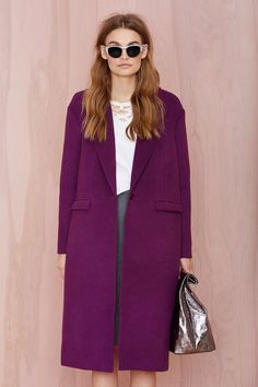 Light Wool Coat in Violet