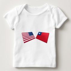 Shop US & Taiwan Flags Baby T-Shirt created by Vexillophile. Taiwan Flag, Consumer Products, Basic Colors, Cotton Tee, Flags, Kids Outfits, Baby, T Shirt, Supreme T Shirt