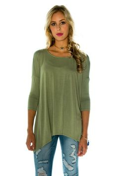 Olive Asymmetrical Long Sleeve Top Front