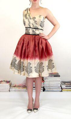Red Silk Sari Dress  Asymmetric Cocktail by alexandrakingdesign