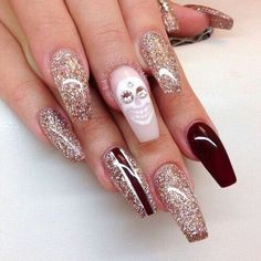 nails, glitter, and skull image