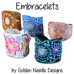 Golden Needle Designs: Embracelets Machine Embroidery Designs. Fun, in-the-hoop designs. Attach a hair tie by hot glue (or sew it on) on 1 end and sew a button onto the other. A set of 4 machine embroidery designs and instructions: $9.00.