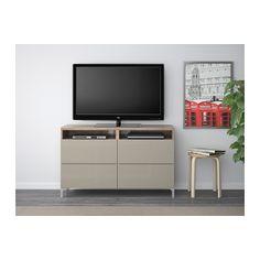 BESTÅ TV Unit With Drawers   Walnut Effect Light Gray/Selsviken High Gloss/