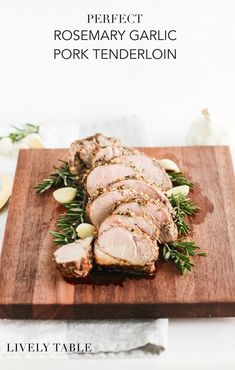 Easy, tender and flavorful garlic rosemary pork loin that's a super simple yet impressive dinner! Pork Tenderloin Recipes, Pork Loin, Pork Recipes, Real Food Recipes, Cooking Recipes, Healthy Recipes, Rosemary Pork Tenderloin, Recipies, Yummy Food