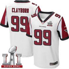 Men's Nike Atlanta Falcons #99 Adrian Clayborn Elite White Super Bowl LI 51 NFL Jersey