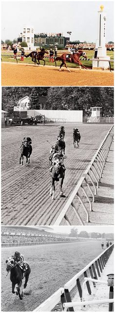 The Triple Crown, Secretariat 1973. Top: Wins the Kentucky Derby from Sham by 2 lengths in a record time of 1:59.4 minutes for 10 furlongs