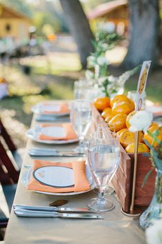 Florida Orange Wedding by Ashton Events and Sunglow Photography - Southern Weddings Table Centerpieces, Wedding Centerpieces, Table Decorations, Orange Wedding, Fall Wedding Colors, Reception Table, Reception Ideas, Menu Holders, Florida Oranges
