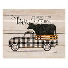 Sign features a distressed aged-style background Rustic Black and White Buffalo Check Pallet Art with Cow Rustic cow riding in the truck bed and displays the image of a Black and White Buffalo Check Pickup Truck with the silhouette of a Wood Pallet Signs, Diy Wood Signs, Pallet Art, Wood Pallets, Vintage Wood Signs, Cow Kitchen Decor, Cow Decor, Stencil, Truck Signs