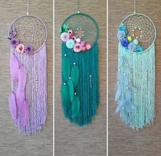 Fall Crafts For Kids Videos Window - Pom Pom Crafts For Kids Videos Ideas - DIY Crafts For Kids Decoration - Sewing Crafts For Teenagers Dream Catcher Patterns, Dream Catcher Decor, Dream Catcher Mobile, Dream Catcher Boho, Lace Dream Catchers, Beautiful Dream Catchers, Diy Home Crafts, Yarn Crafts, Crafts To Sell