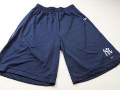 Nike New York Yankees Basketball Shorts Mens Size L large Blue MLB Baseball Gym #Nike