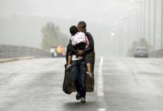 Syrisch vluchteling met zijn dochter