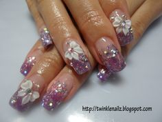 acrilic nails | ... purple & pink colour acrylic glitters overlay on tis set of nails
